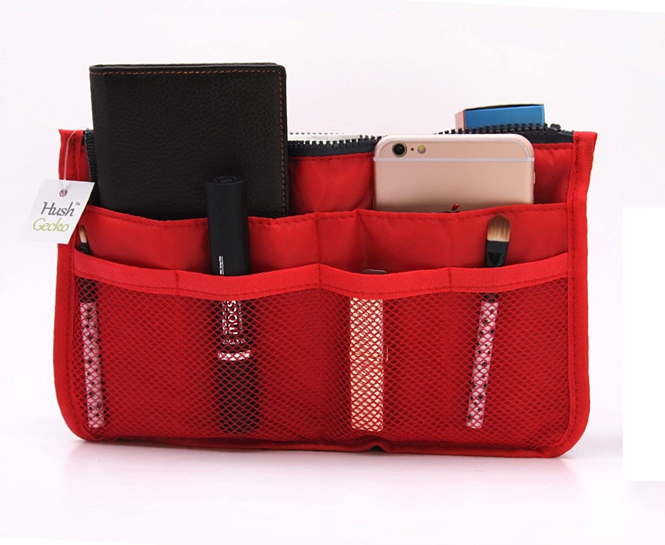 Tote Bag Insert Makeup Organizer (Red)