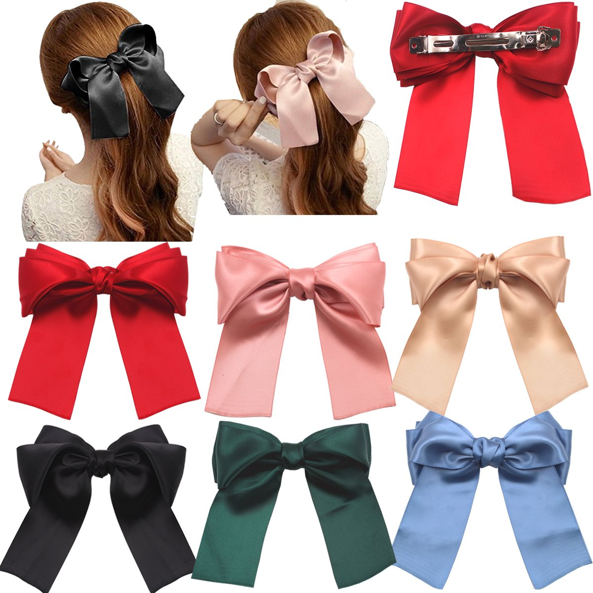 Girls Ladies Large Red Hair Bow Hair Clip