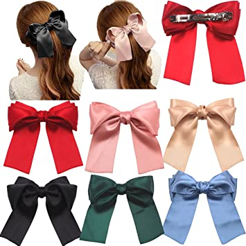 5c8dad0ea7b0 Amazon.com : 6 Pcs Large Big Huge Soft Silky Hair Bow Clip Lolita Party  Oversize Handmade Girl French Barrette Style Hair Clips : Beauty