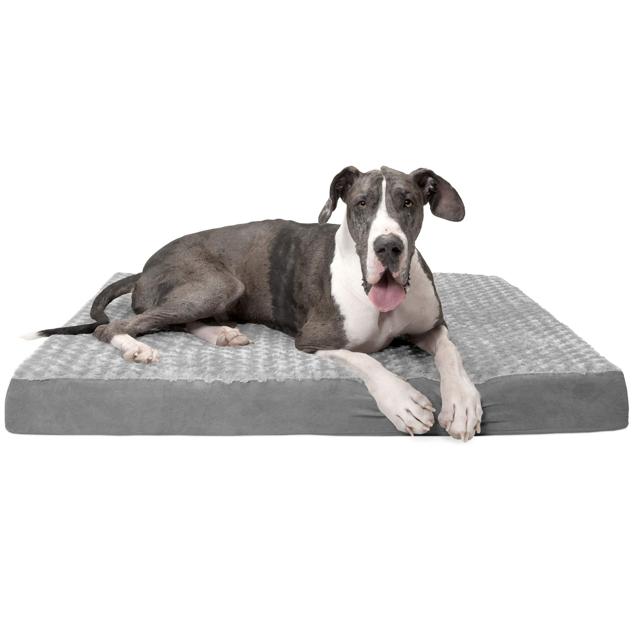 Furhaven Pet Dog Bed | Deluxe Orthopedic Mat Ultra Plush Faux Fur Traditional Foam Mattress Pet Bed w/ Removable Cover for Dogs & Cats, Gray, Jumbo Plus by Furhaven