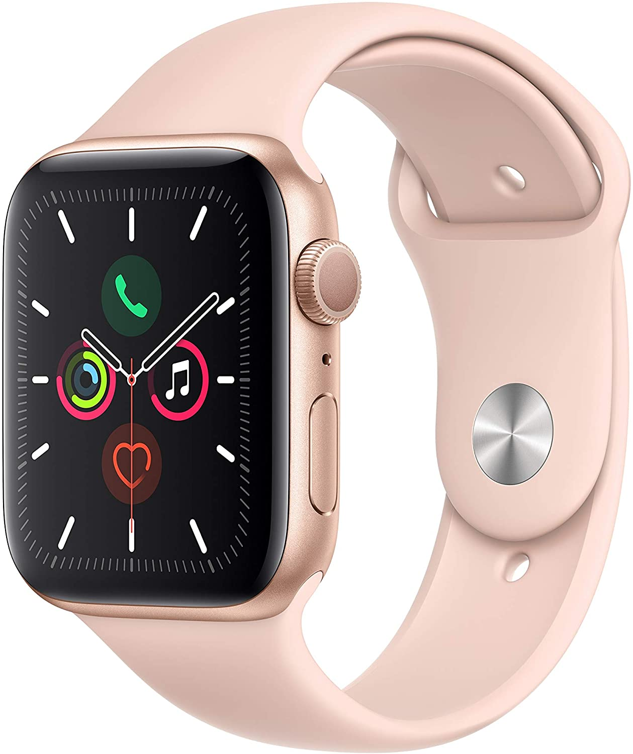 Amazon.com: Apple Watch Series 5 (GPS, 44mm) - Gold Aluminum Case with Pink  Sport Band