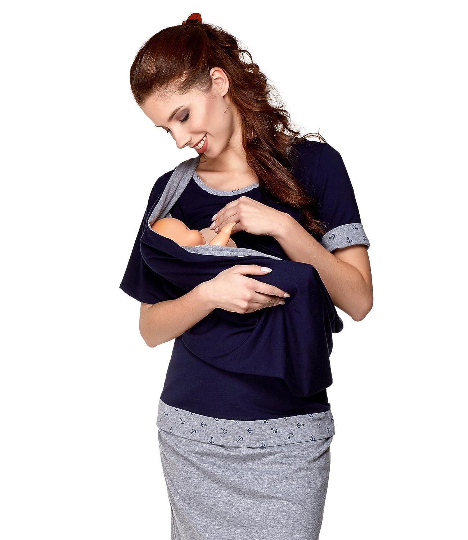 Be Mama! 3in1 Umstandsshirt - Stillshirt und Stillschal im Set: TEMI - lang- oder kurzarm - FARBAUSWAHL