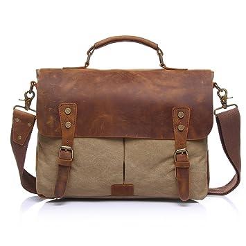 Amazon.com: Crazy Ants Vintage Canvas Leather Mens Messenger Bags ...