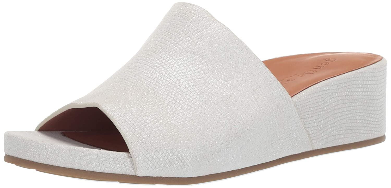 White Gentle Souls Womens Gisele Low Wedge Slide Sandal Wedge Sandal