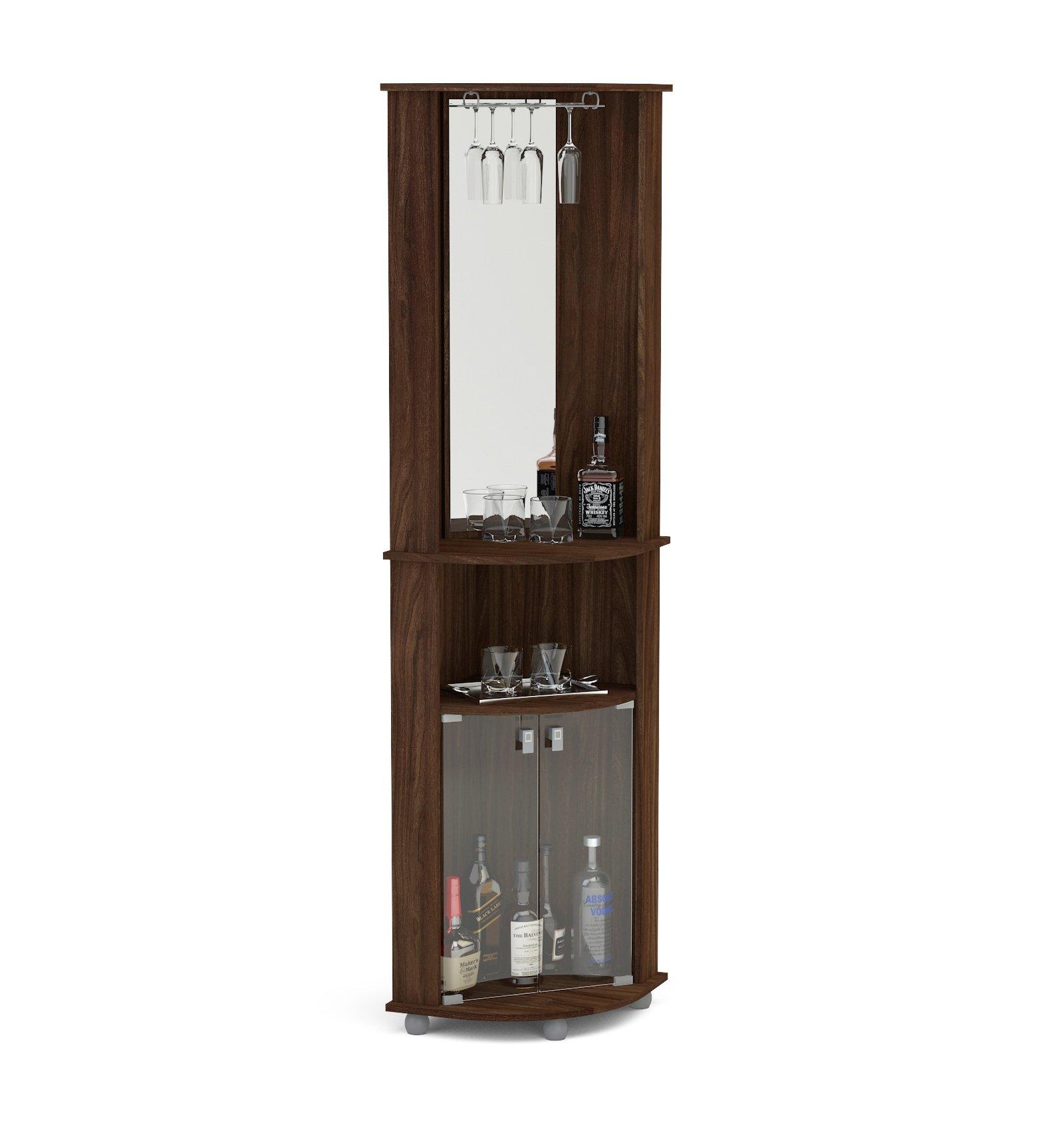 Boahaus Corner Bar, 2 Glass Door, Mirrowed Wall, Glass Rack Dark Brown/Wood by Boahaus