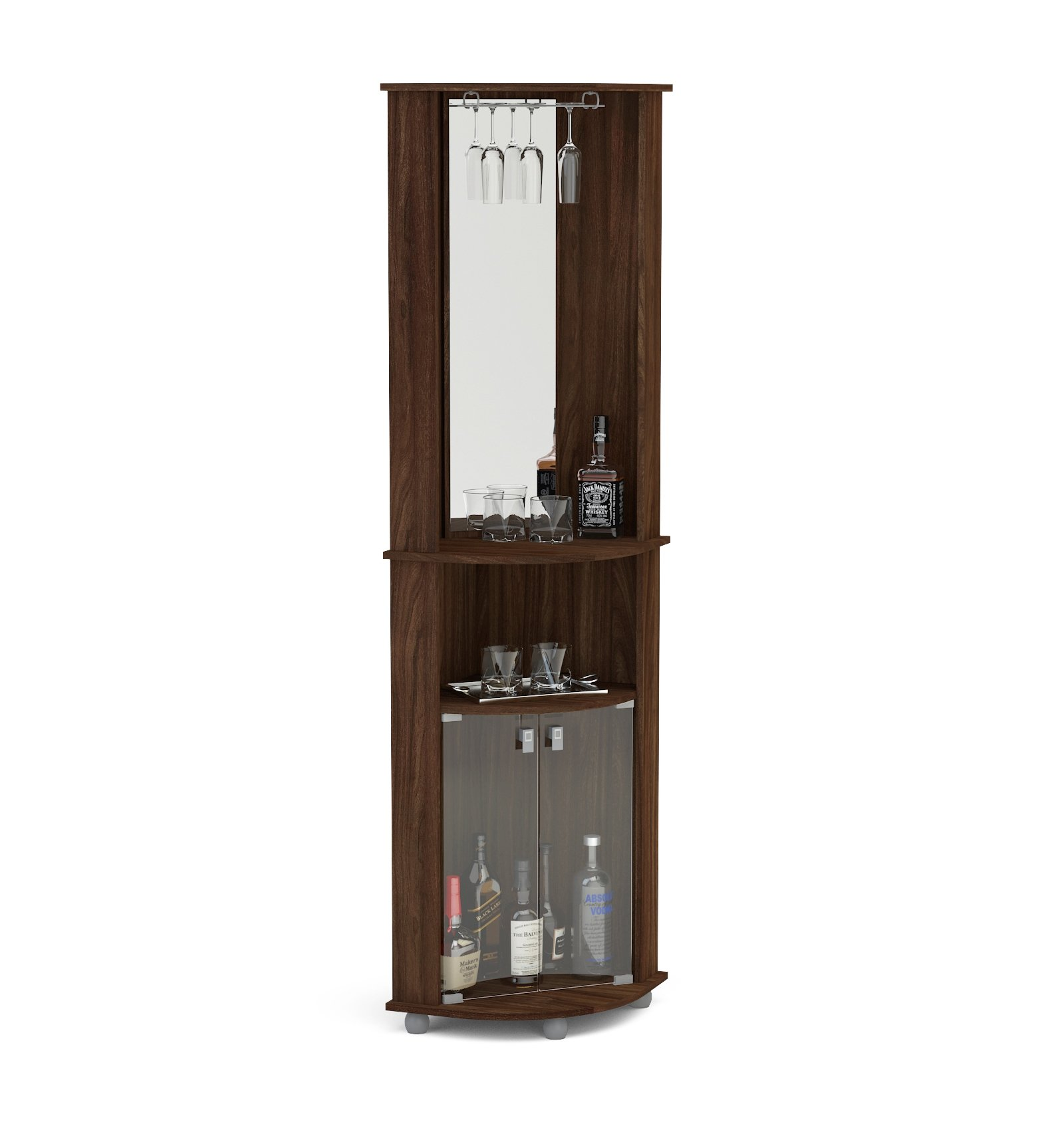 Boahaus Corner Bar, 2 Glass Door, Mirrowed Wall, Glass Rack Dark Brown/Wood