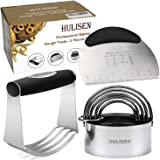 Stainless Steel Pastry Blender, Dough Scraper & Biscuit Cutters Set (5 Pieces/Set), HULISEN Heavy Duty & Durable with Ergonomic Rubber Grip, Professional Baking Dough Tools