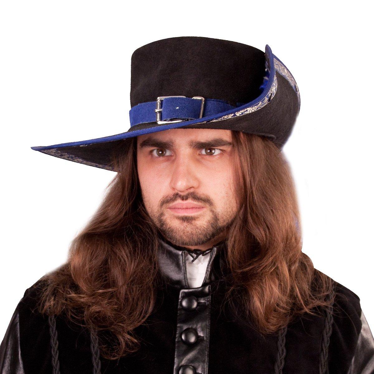 Men's Renaissance Suede Blue Banded Cavalier Hat - DeluxeAdultCostumes.com