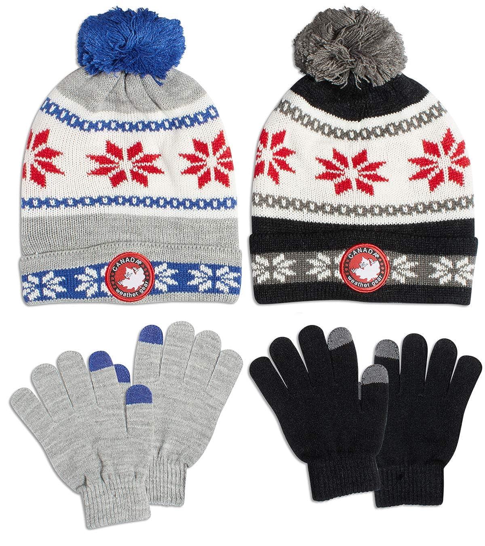 4 Piece Set CANADA WEATHER GEAR Boys Winter Beanie Hat and Glove Set