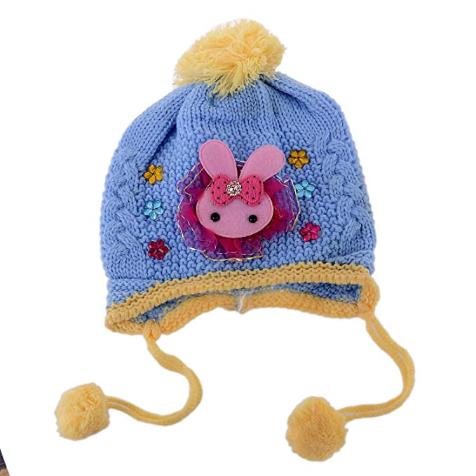 SHOP FRENZY Baby Boy s and Girl s Soft Woollen Winter Monkey Beanie Caps  (Blue 8fa09bf3096