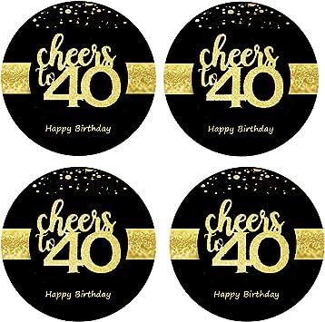 Amazon.com: Sumerk - Pegatinas para botella de 40 cumpleaños ...