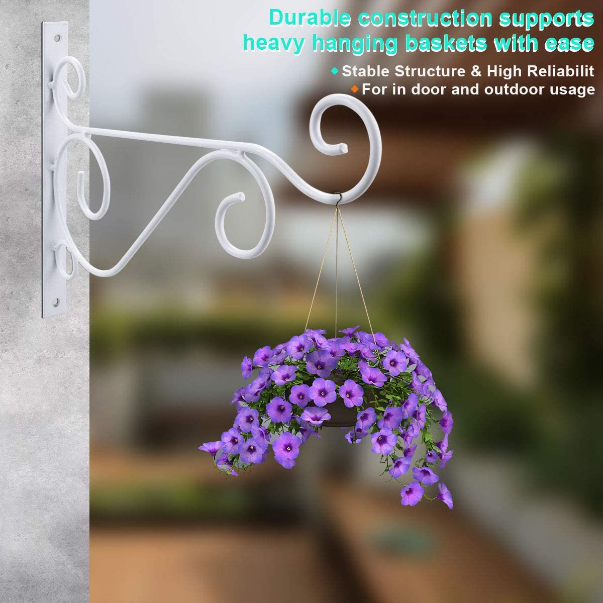 White T6 Pack of 4 Wall Hanging Brackets Hooks with Screws for Garden Basket Lantern Lawn Light Flower Pots Plant Hanger Gardening Decoration 25x20CM