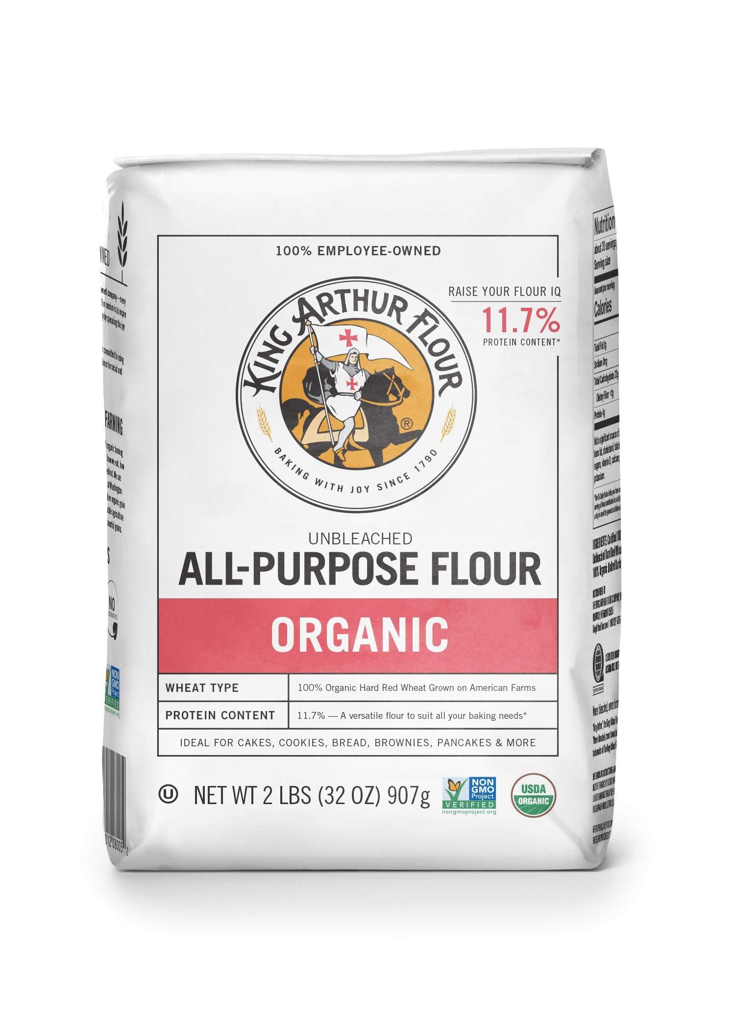 King Arthur Flour 100% Organic All-Purpose Flour, Unbleached, 2 Pound (Pack of 12) by King Arthur Flour (Image #1)