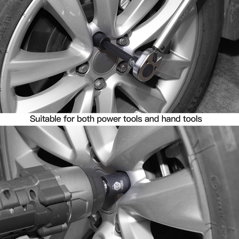 Metric CR-V HIS3A 17-Piece Set TACKLIFE 1//2-Inch Drive Master Shallow Impact Socket Set 6-Point