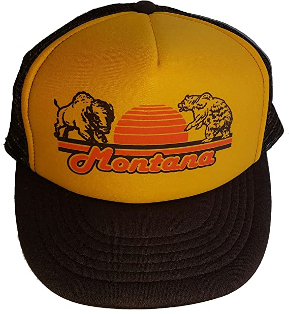 0673eafd4beeb Image Unavailable. Image not available for. Color  Montana Bear Buffalo  Mesh Trucker Hat Cap Snapback Brown Gold