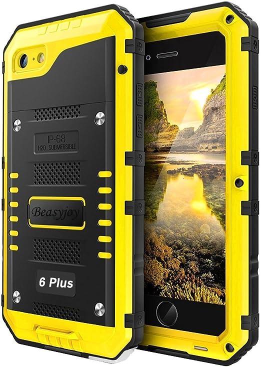Beasyjoy Coque étanche robuste pour iPhone 6 Plus avec écran intégré - Coque de protection intégrale en métal solide - Résistante aux chocs - ...