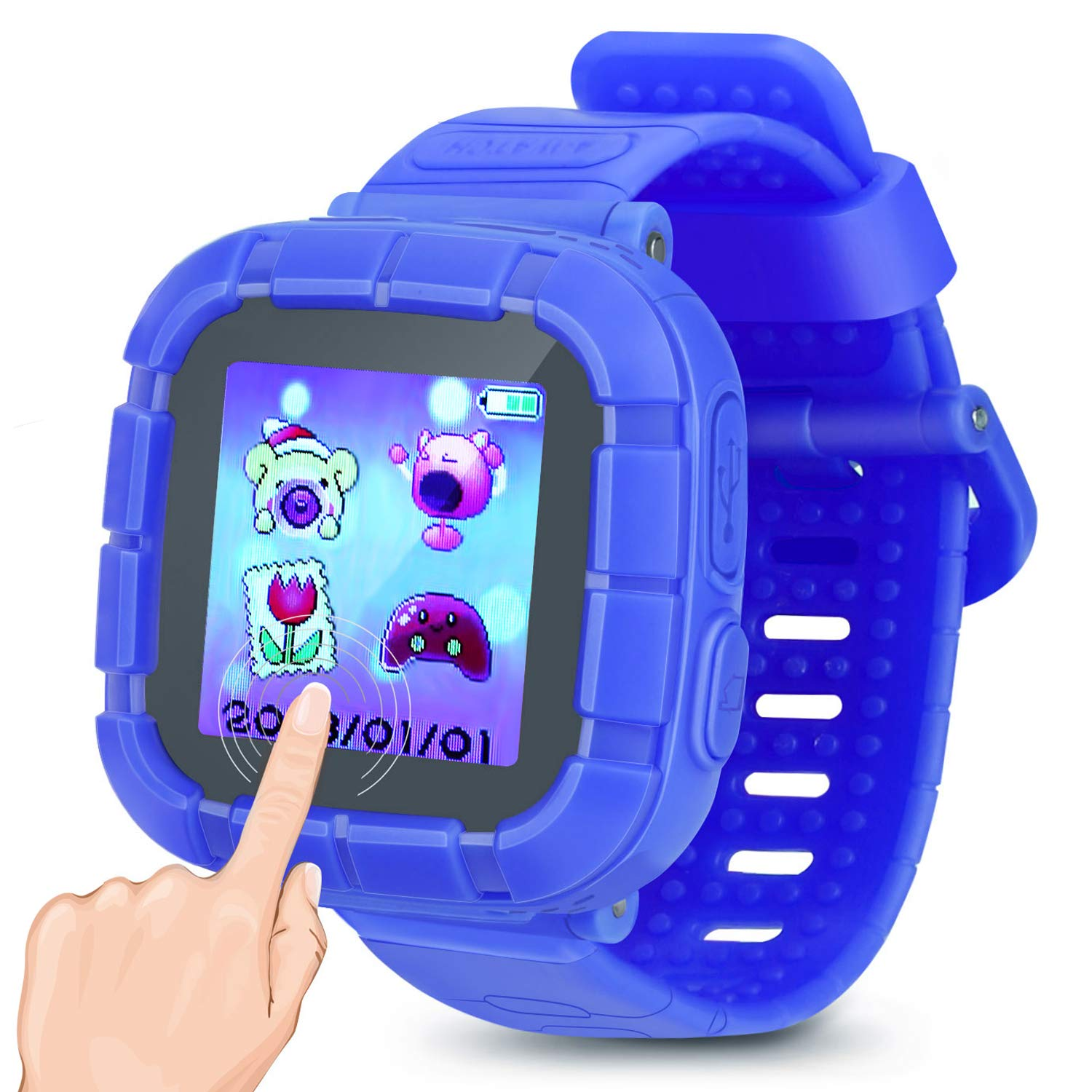 YIHOO Kids Smart Watch Games Smartwatch Touch Screen Watches Camera Timer Clock Pedometer Kids Boys Girls Toys Holiday Birthday Gifts (Blue)