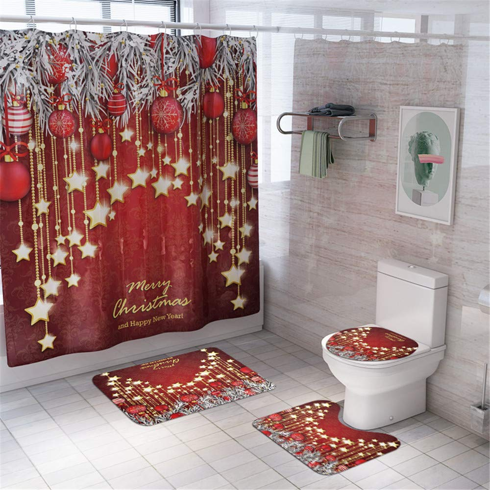 Businda Christmas Shower Curtain for Stars Pattern Eve Fireplace Gifts& Holiday Bathroom Decoration, Fabric Bath Accessories Christmas, 70x70 inch for Apartment,Hotel,Camper, Dorm, School Shower by Businda