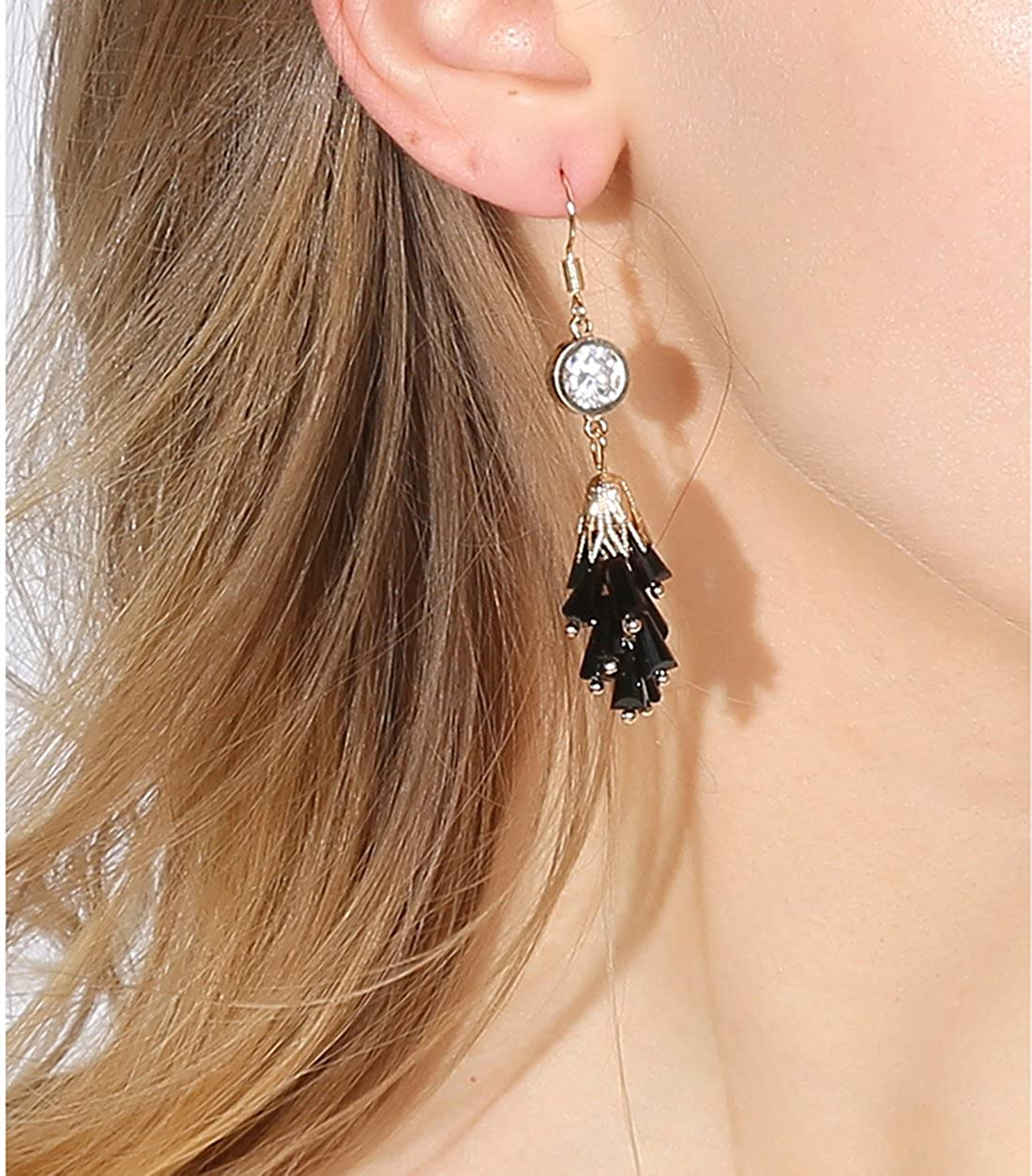 Elegant Cubic Zirconia Stud Earrings Long Crystal Drop Dangle Earrings