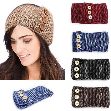 Amazoncom Flyusa Womens Button Pattern Knit Winter Headband