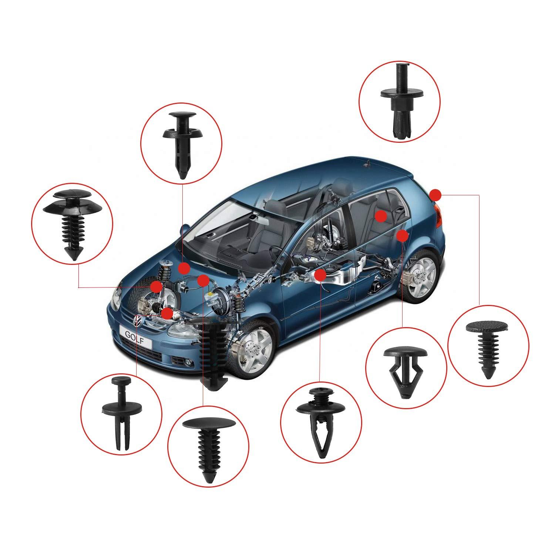 Rupse 415 PCS Clips Agrafe Rivets en Plastique Kit de Fixation Universel pour Auto Voiture Panneau Garniture de Porte avec Outil de D/émontage /& Fixation et Bo/îte de Rangement