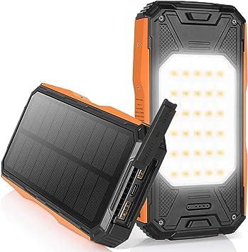 AMZGO Cargador Solar Móvil 26800mAh Power Bank Batería Externa Banco de Energía Portátil,18W PD 2 Puertos de Salida 2 LED Linterna USB Cargador Rápido ...