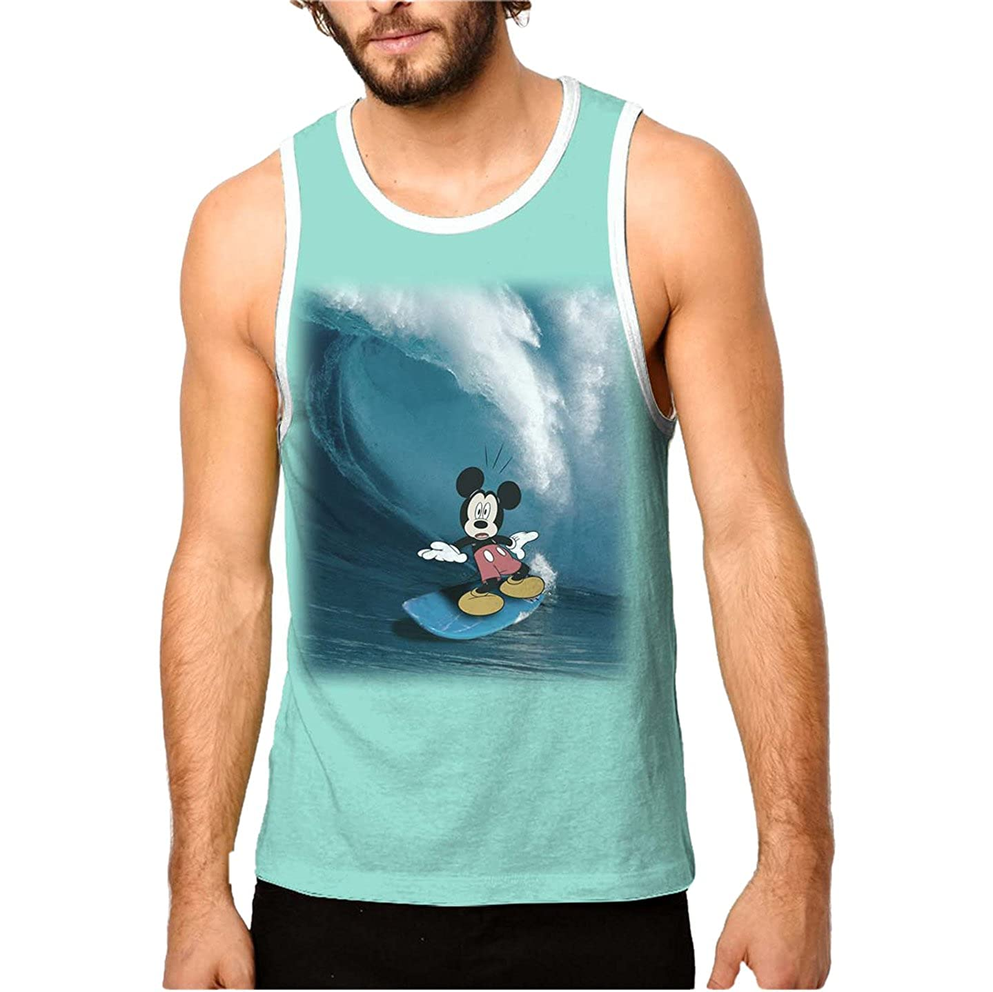 6893068f Officially licensed Disney merchandise. Mickey Mouse graphic with summer  surfing theme - Sleeveless tank top for super cool style