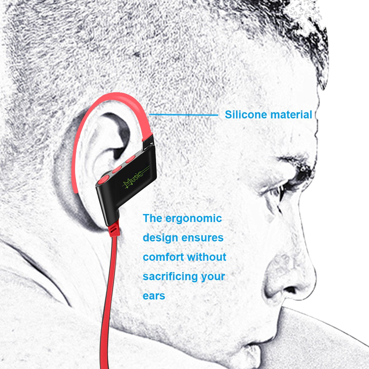 KELODO S808 Behind Neck Bluetooth Headphones, Rechargeable In-ear Earpiece Wireless Headset with Noise Cancelling for iPad iPod iPhone 5s 6 7 and Other Android Mobile or Apple Devices - Red