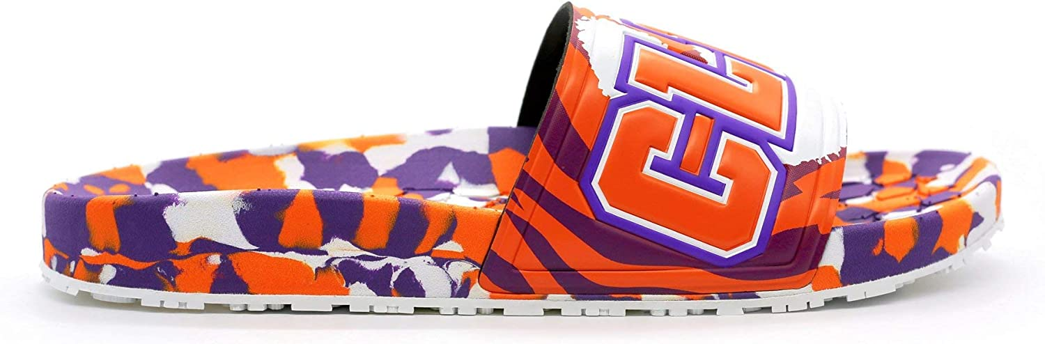 Hype Unisex Clemson University Collegiate Slydr Slide Sandal Shoe Beach Shower