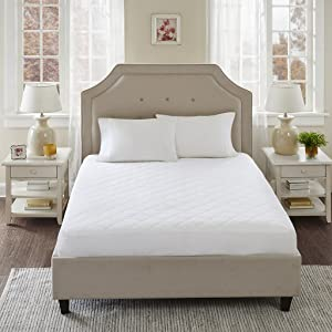 Sleep Philosophy All Natural 100% Cotton Filled Mattress Pad Washable Queen Size Bed Protector White