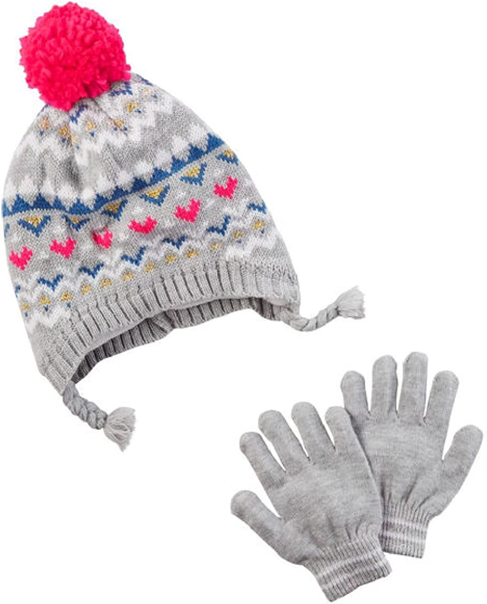 Size 4 to 8 Carter/'s Hat /& Glove Set GRAY FAIR ISLE