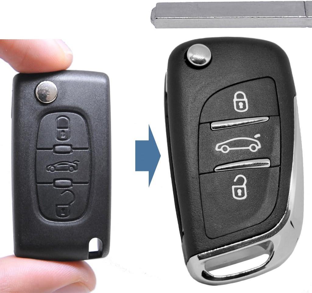 Carcasa llave hu83 3 teclas para Peugeot Expert RCZ 308 207 307 citroen c5