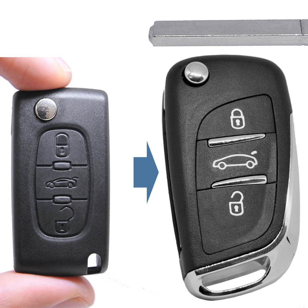 – Llave umbau Carcasa Mando a distancia nuevo diseño 3 botones VA2 en blanco para Citroen/Peugeot/Fiat