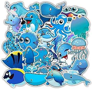 Minoly Kids Friendly Stickers for Hydro Flask [49 pcs], Ocean Animals Theme Kids Stickers, Sea Turtle Shark Dolphin Waterproof Stickers for Water Bottles, Skateboards, Laptop, Helmet, Phone, Guitar