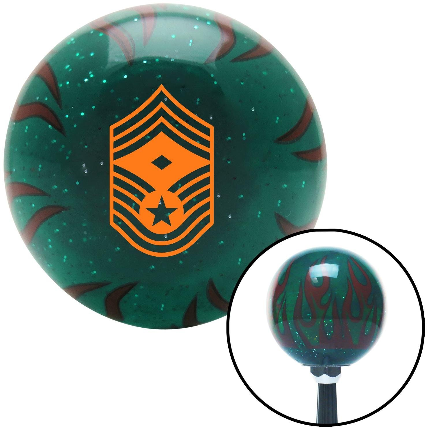Orange Chief Master Sergeant First Sergeant American Shifter 262709 Green Flame Metal Flake Shift Knob with M16 x 1.5 Insert