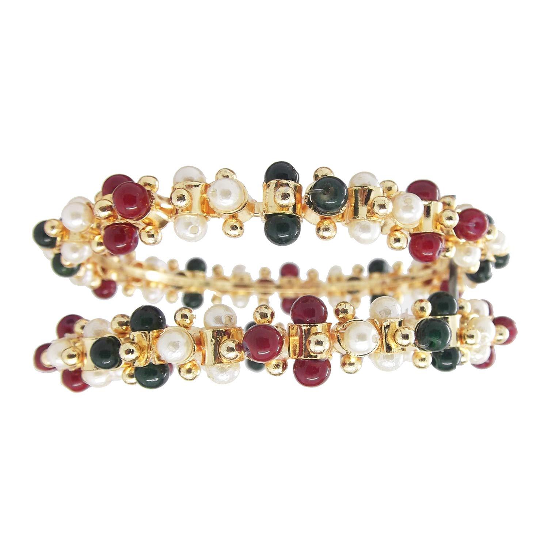 9blings Gopi Multicolor Pearl Gold Plated 2pc Kada Bangles Womens//Girls