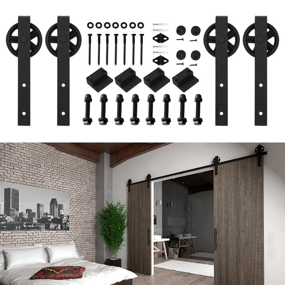 Hahaemall Antique Interior 5-16FT Big Black Spoken Wheel Sliding Barn Door Hardware Steel Wooden Door Cloest Hanging Track Kit ( 12FT Double Door Kit)