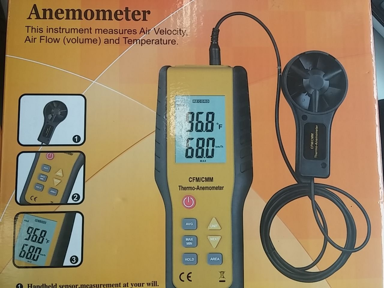 PerfectPrime WD9819 Digital LCD Display CFM//CMM Thermo Anemometer Infrared Thermometer Airflow Wind