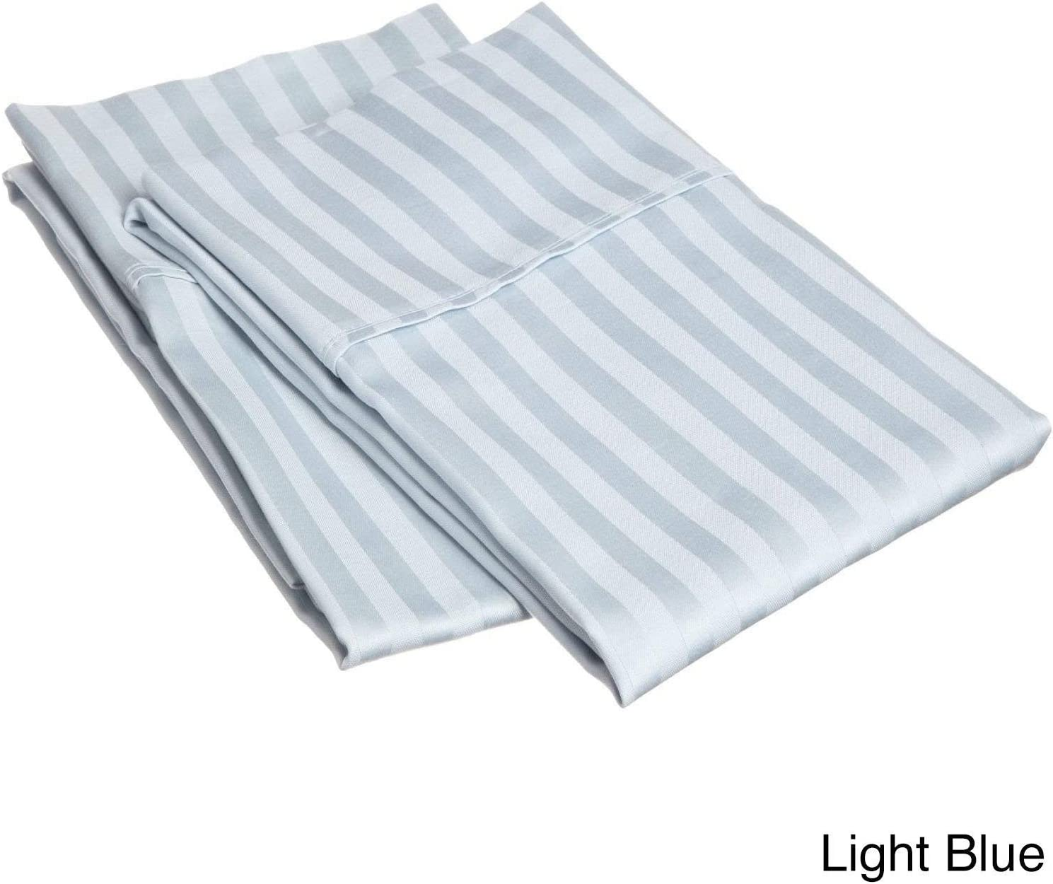 Linenwala 100/% Egyptian Cottom 1 Pair Pillow Case Soft Smooth /& Long Staple 300-Thread-Count Standard//Queen Size Medium Blue Solid