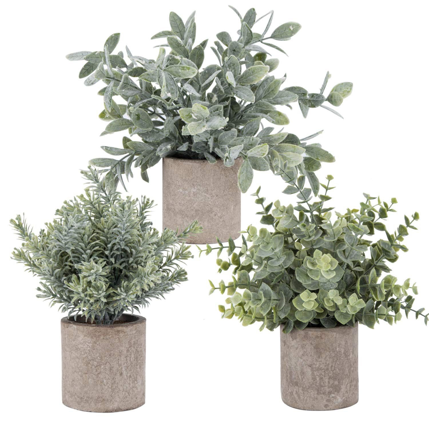 3 Pack Mini Potted Artificial Eucalyptus Plants Plastic Fake Green Rosemary Plant for Home Office Desk Room Decoration by Der Rose