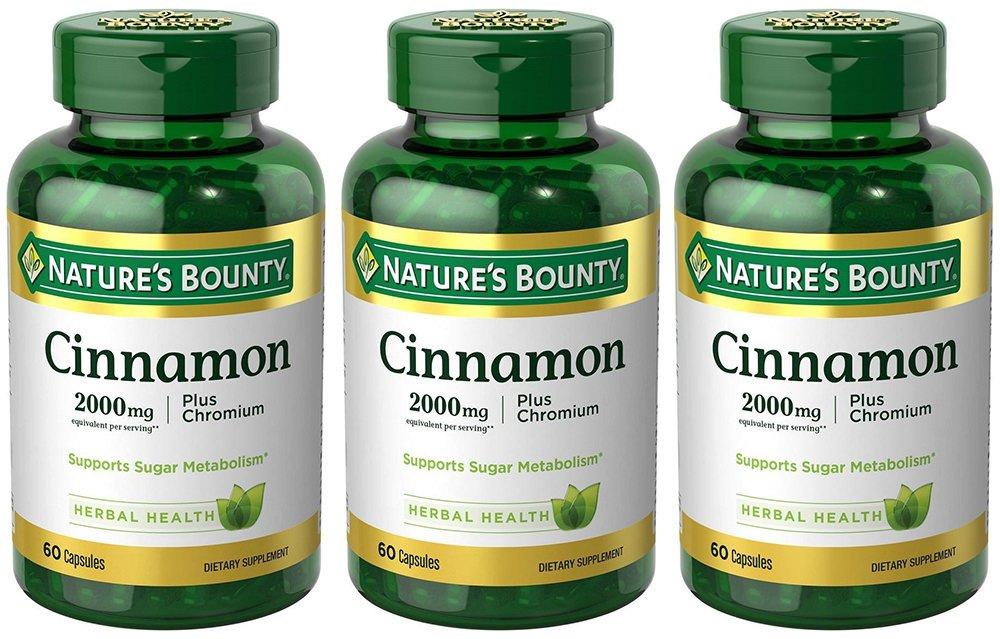 Cinnamon 2000mg, Plus Chromium, 3 Bottles (60 Count)