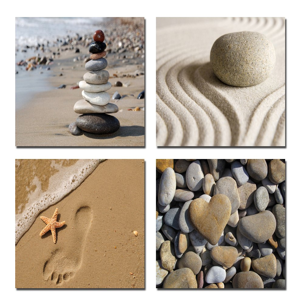 Amazon.com: Wieco Art Romantic Beach Theme 4 Piece Modern Giclee ...