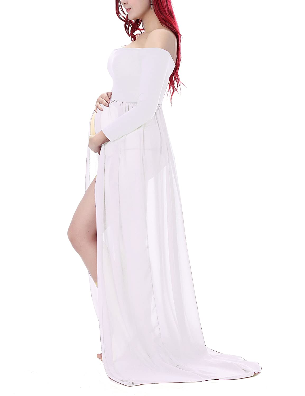 Maternity dresses amazon saslax maternity chiffon gown split front maxi photography dress for photo shootwhitelarge ombrellifo Choice Image