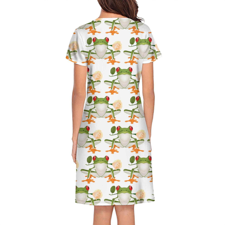 XUWU Nightshirts for Women Cute Donkey Pattern Nightgown Short Sleeves Sleepwear