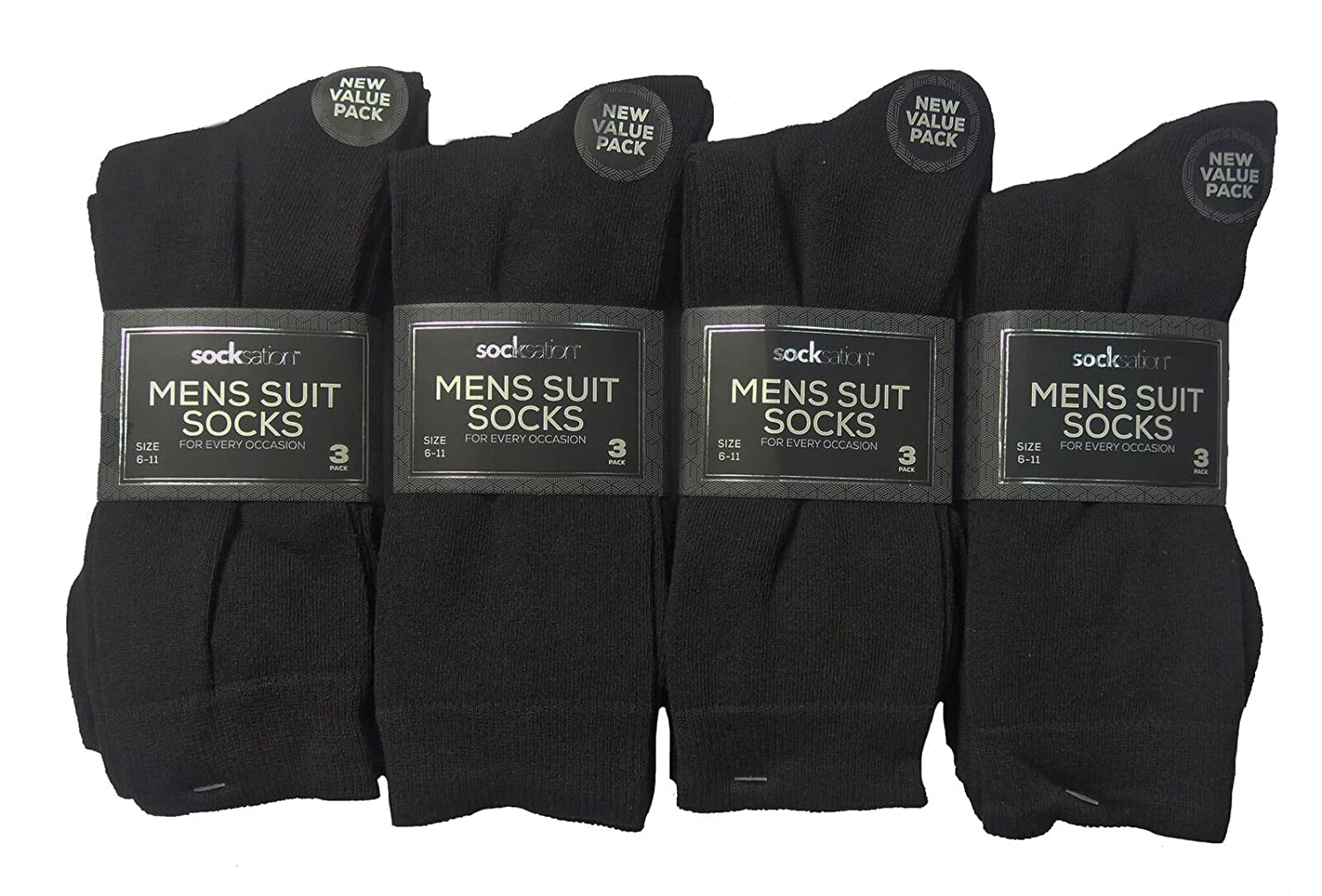Mens Socks Black 6, 12 Pack Cotton Plain Adults Black Grey and Navy Size UK 6-11