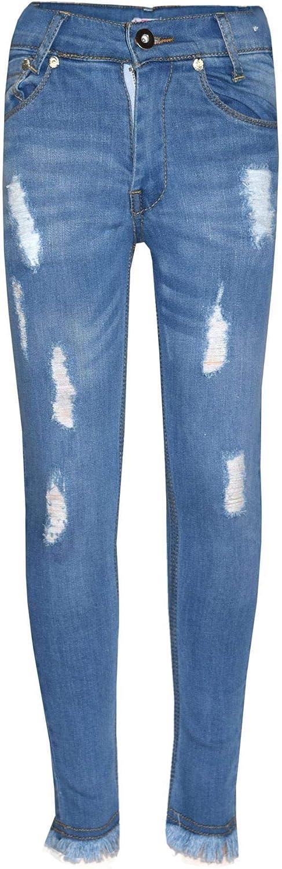 A2Z Girls Skinny Jeans Kids Light Blue Denim Ripped Stretchy Pants Trouser Jeggings