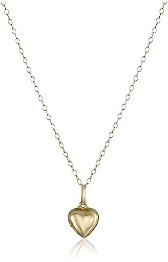 Amazon 14k yellow gold small puffed heart pendant necklace 15 14k yellow gold small puffed heart pendant necklace 15quot aloadofball Choice Image