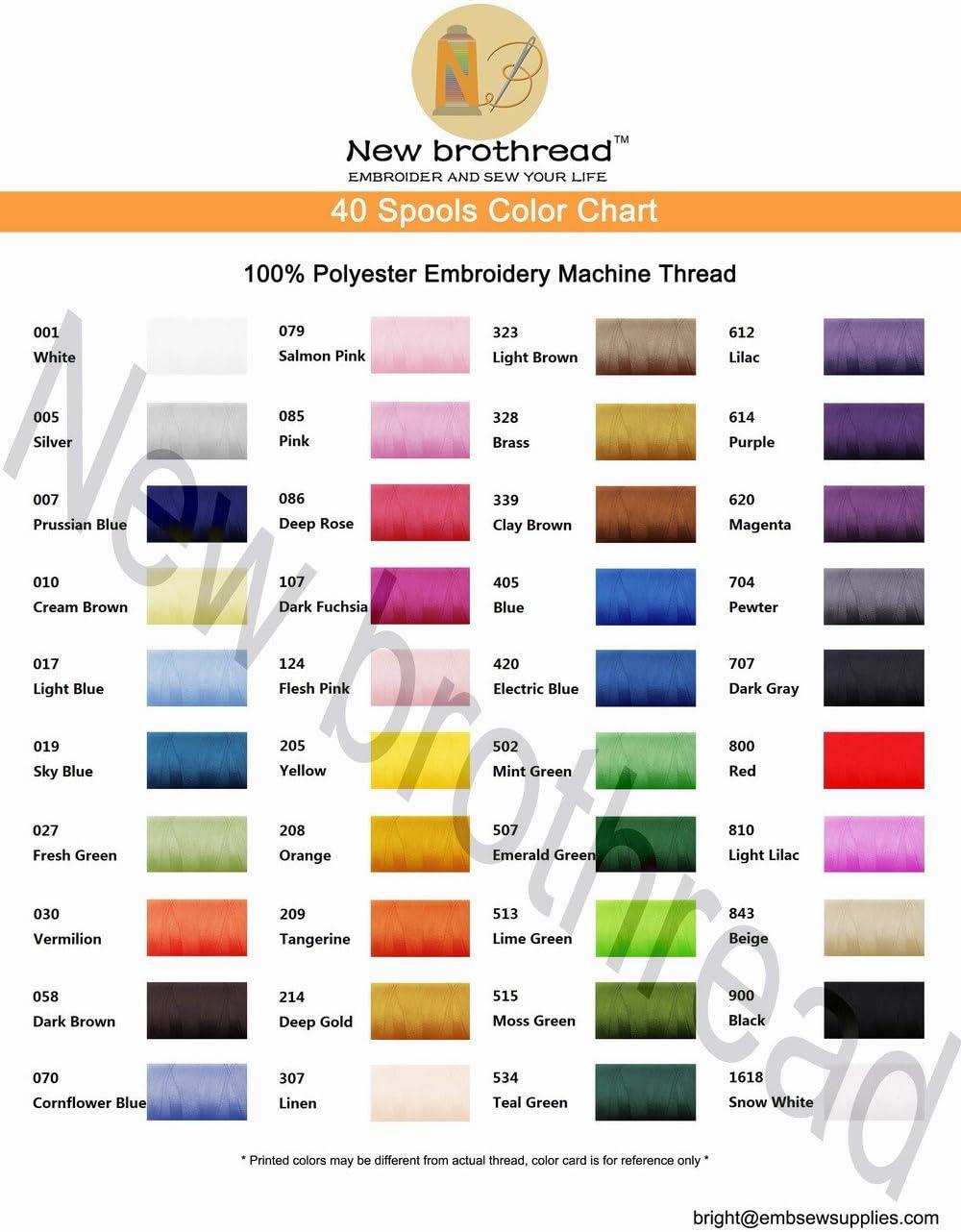 New brothread 40 Brother Colores 500M(550Y) Poliéster Bordado ...