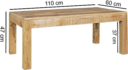 Mesa de Centro Rustic 110 x 60 x 47 cm Mango de Madera Maciza ...