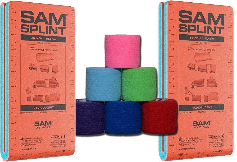 36'' SAM Splint Plus 2'' Cohesive Co-Flex Wrap Combo Kit (2 Splint/4 Wraps, Black Wrap)